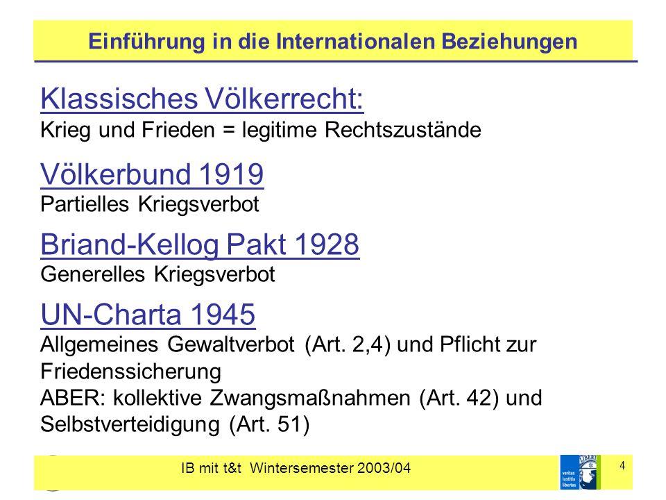 IB mit t&t Wintersemester 2003/04 4 Einführung in die Internationalen Beziehungen Klassisches Völkerrecht: Krieg und Frieden = legitime Rechtszustände