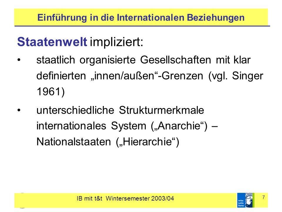 IB mit t&t Wintersemester 2003/04 7 Einführung in die Internationalen Beziehungen Staatenwelt impliziert: staatlich organisierte Gesellschaften mit kl