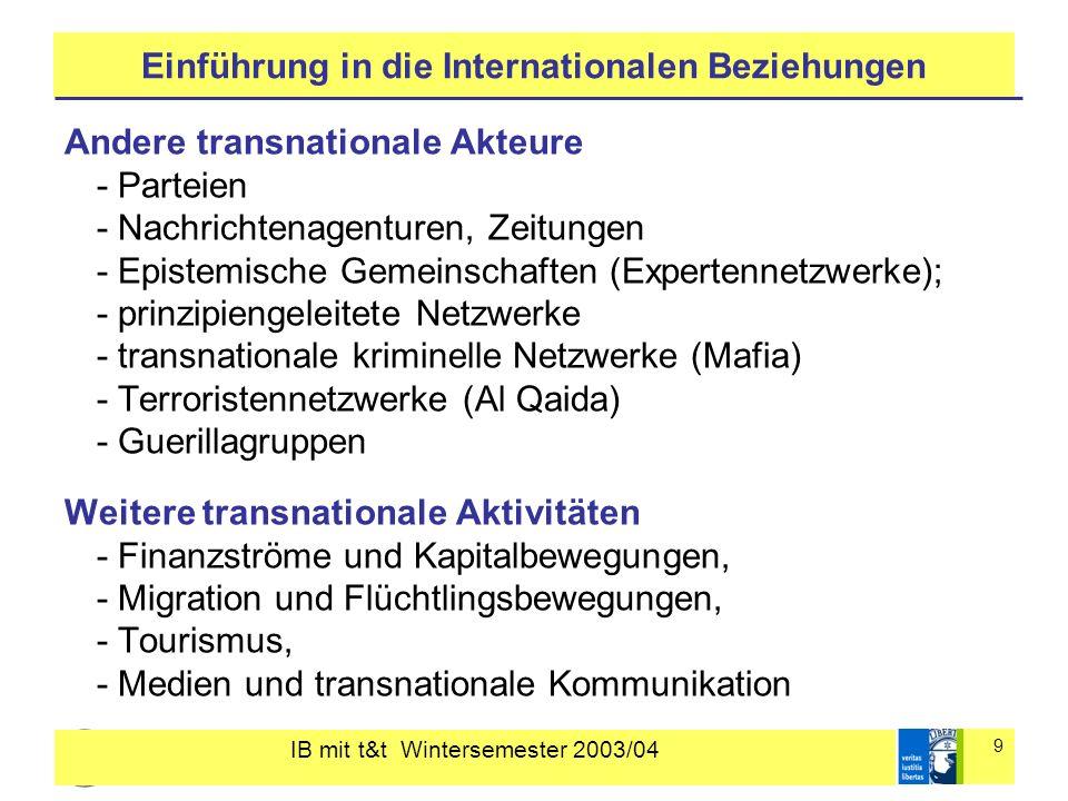 IB mit t&t Wintersemester 2003/04 9 Einführung in die Internationalen Beziehungen Andere transnationale Akteure - Parteien - Nachrichtenagenturen, Zei