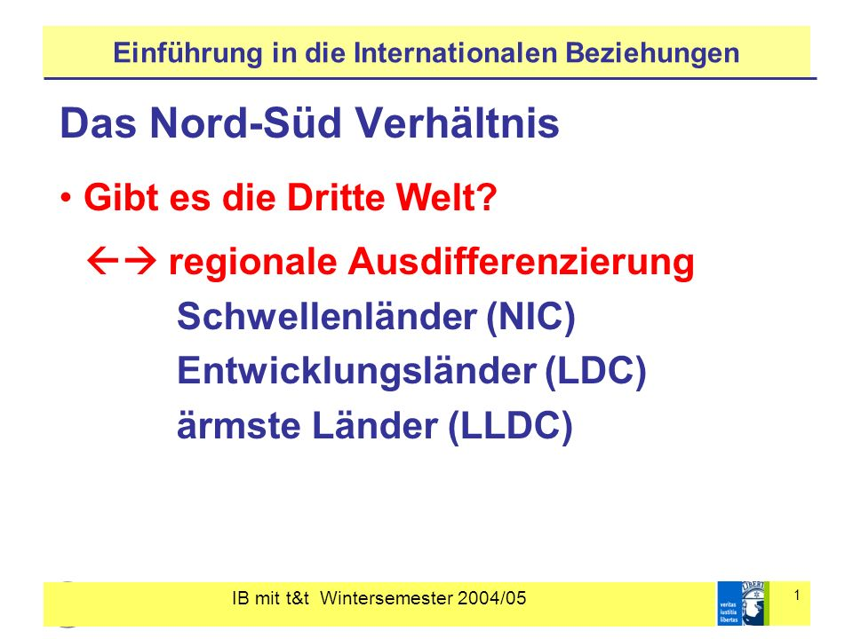 IB mit t&t Wintersemester 2004/05 1 Einführung in die Internationalen Beziehungen Das Nord-Süd Verhältnis Gibt es die Dritte Welt? regionale Ausdiffer