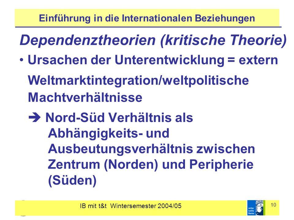 IB mit t&t Wintersemester 2004/05 10 Einführung in die Internationalen Beziehungen Dependenztheorien (kritische Theorie) Ursachen der Unterentwicklung
