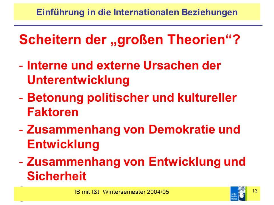 IB mit t&t Wintersemester 2004/05 13 Einführung in die Internationalen Beziehungen Scheitern der großen Theorien? -Interne und externe Ursachen der Un