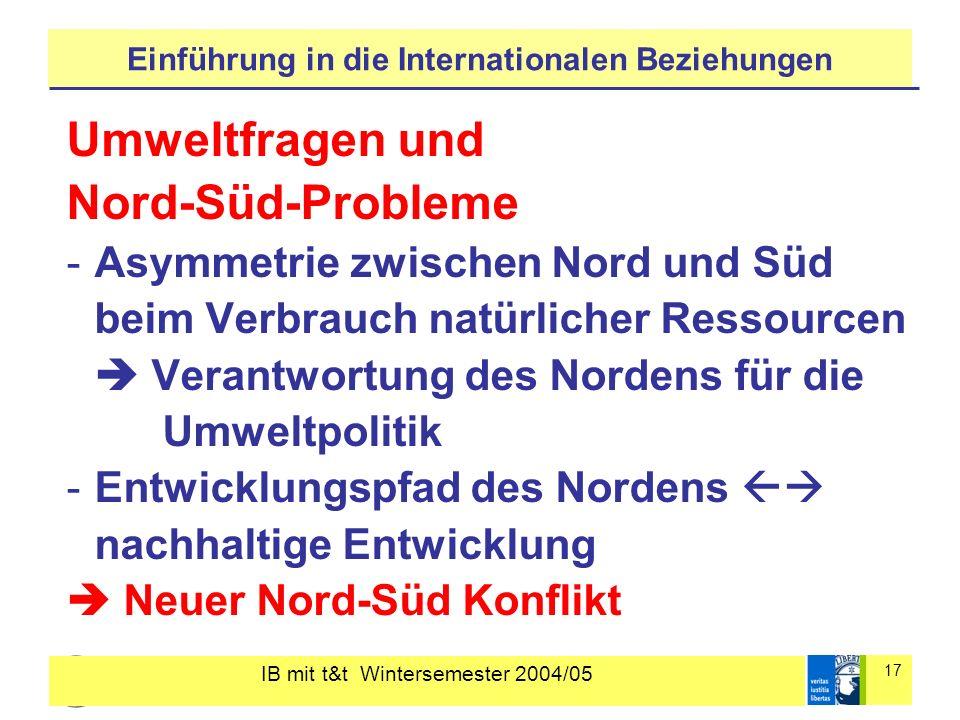 IB mit t&t Wintersemester 2004/05 17 Einführung in die Internationalen Beziehungen Umweltfragen und Nord-Süd-Probleme -Asymmetrie zwischen Nord und Sü
