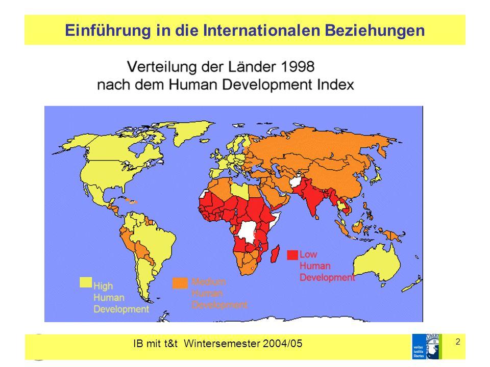 IB mit t&t Wintersemester 2004/05 3 Einführung in die Internationalen Beziehungen GLOBAL INFLOWS OF FDI Angaben in Mrd.