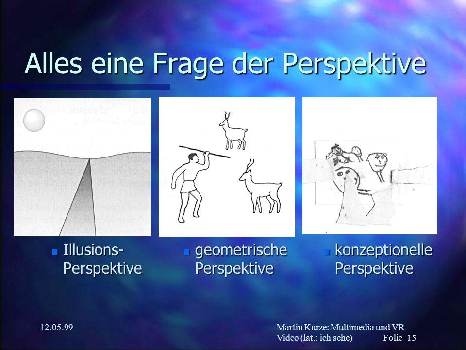 Martin Kurze: Multimedia und VR Video (lat.: ich sehe) Folie 15 12.05.99 Alles eine Frage der Perspektive n Illusions- Perspektive n konzeptionelle Pe