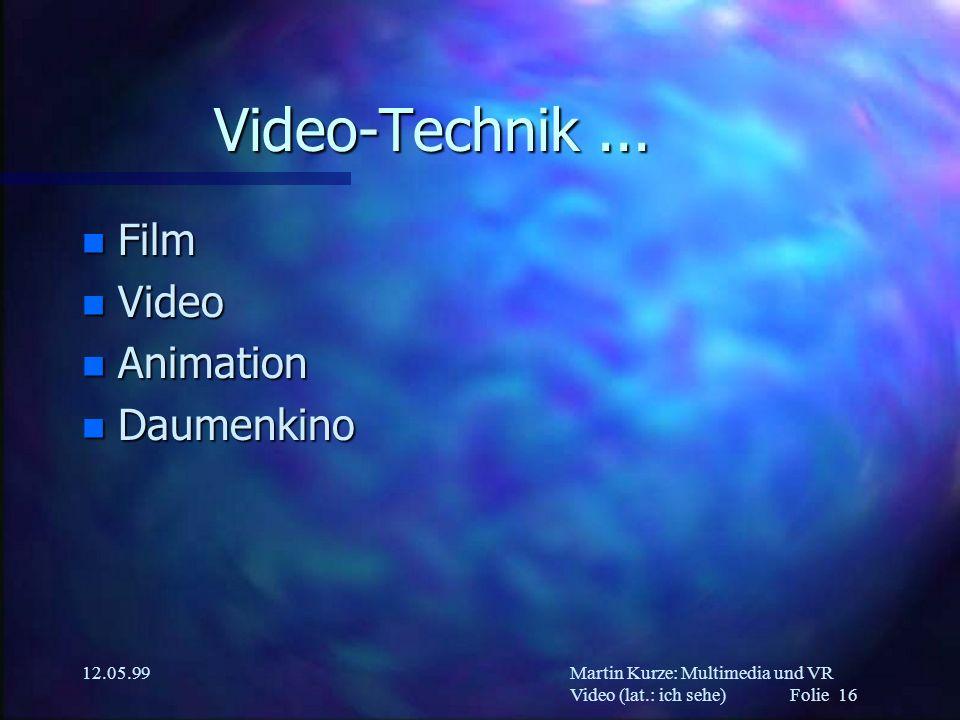 Martin Kurze: Multimedia und VR Video (lat.: ich sehe) Folie 16 12.05.99 Video-Technik... n Film n Video n Animation n Daumenkino