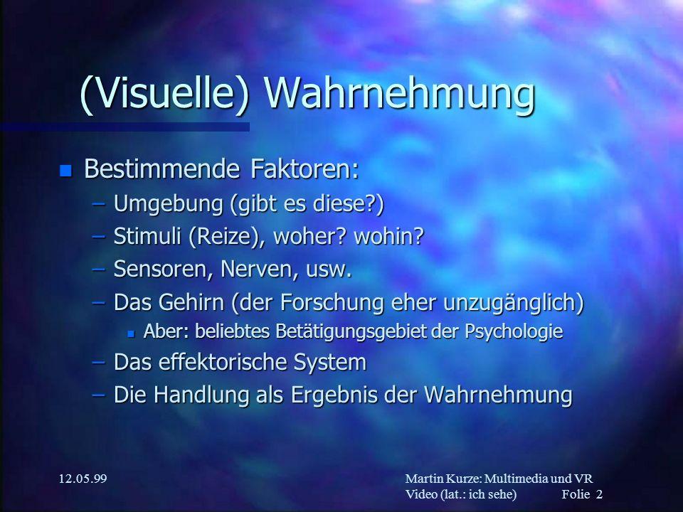 Martin Kurze: Multimedia und VR Video (lat.: ich sehe) Folie 2 12.05.99 (Visuelle) Wahrnehmung n Bestimmende Faktoren: –Umgebung (gibt es diese?) –Sti
