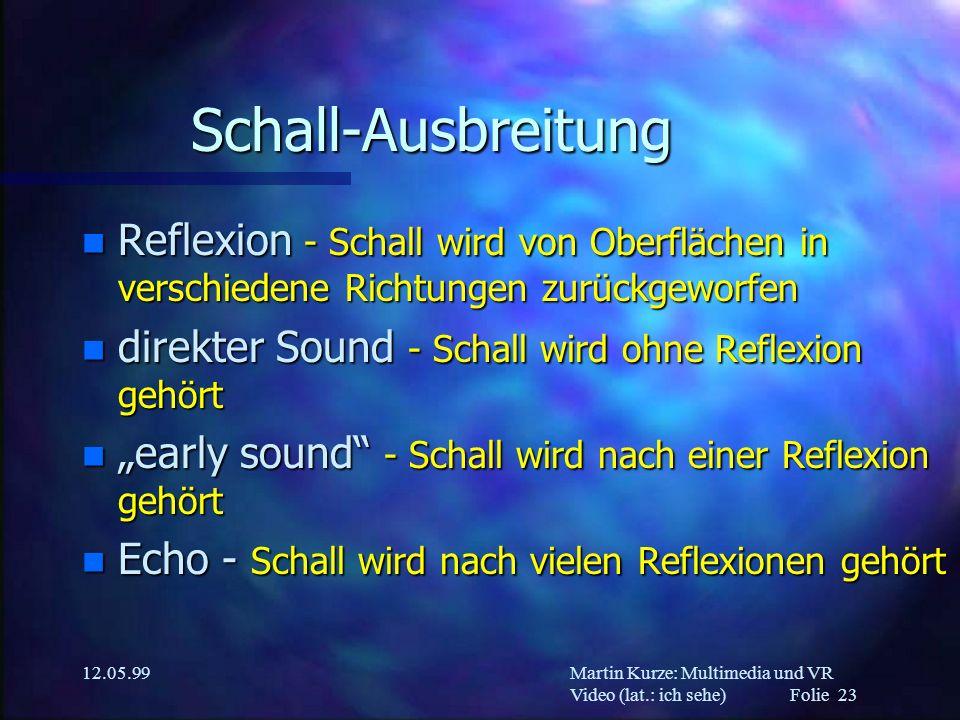 Martin Kurze: Multimedia und VR Video (lat.: ich sehe) Folie 23 12.05.99 Schall-Ausbreitung n Reflexion - Schall wird von Oberflächen in verschiedene