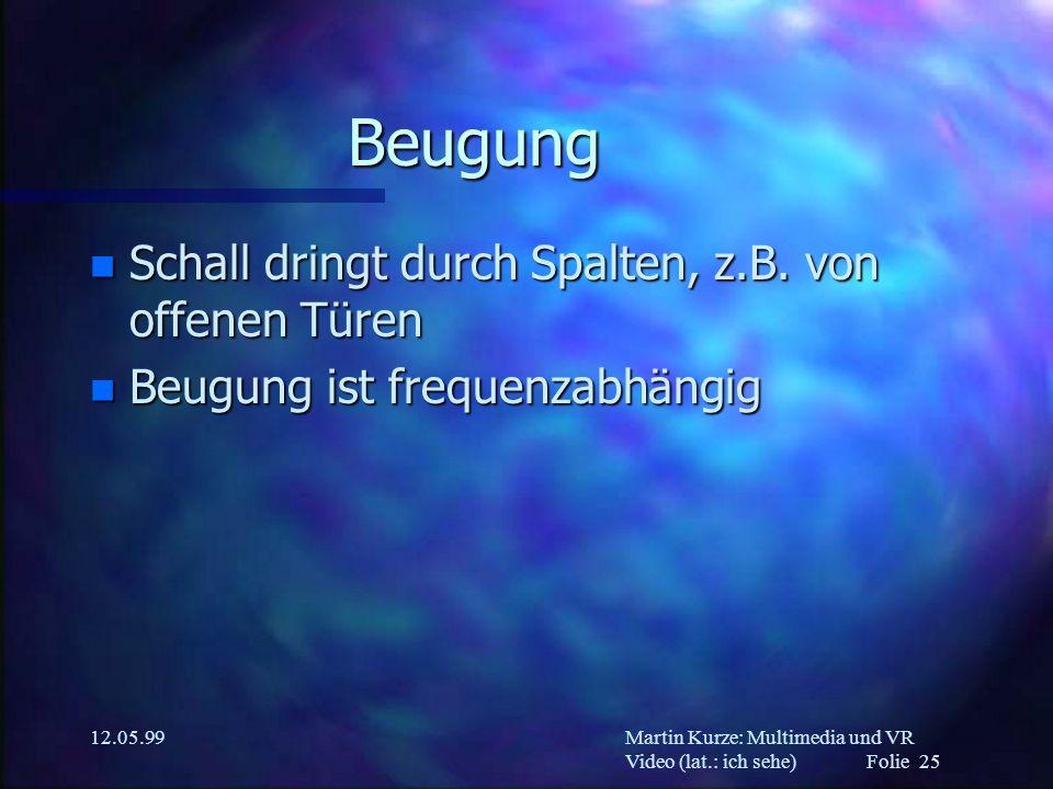 Martin Kurze: Multimedia und VR Video (lat.: ich sehe) Folie 25 12.05.99 Beugung n Schall dringt durch Spalten, z.B. von offenen Türen n Beugung ist f