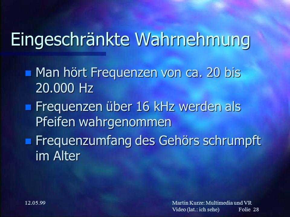 Martin Kurze: Multimedia und VR Video (lat.: ich sehe) Folie 28 12.05.99 Eingeschränkte Wahrnehmung n Man hört Frequenzen von ca. 20 bis 20.000 Hz n F