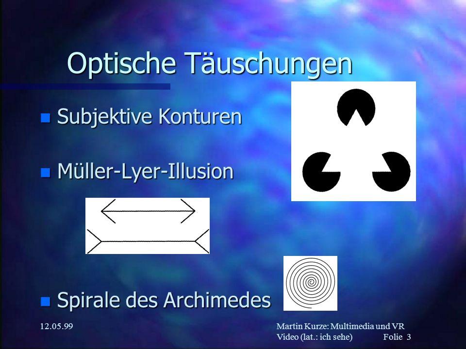 Martin Kurze: Multimedia und VR Video (lat.: ich sehe) Folie 3 12.05.99 Optische Täuschungen n Subjektive Konturen n Müller-Lyer-Illusion n Spirale de