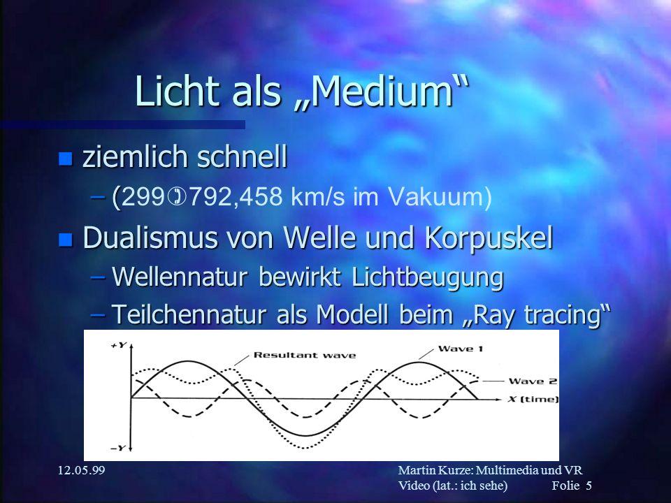 Martin Kurze: Multimedia und VR Video (lat.: ich sehe) Folie 5 12.05.99 Licht als Medium n ziemlich schnell –( –( 299)792,458 km/s im Vakuum) n Dualis