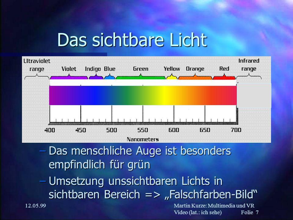 Martin Kurze: Multimedia und VR Video (lat.: ich sehe) Folie 8 12.05.99 Wir sehen kaum Licht (???) n Reflexionen von Licht an Körpern –nur ein Teil des Spektrums wird reflektiert n Das hat Folgen für das Rendering n...