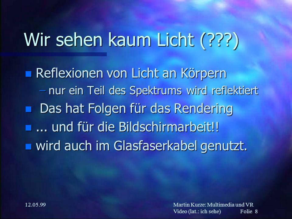 Martin Kurze: Multimedia und VR Video (lat.: ich sehe) Folie 8 12.05.99 Wir sehen kaum Licht (???) n Reflexionen von Licht an Körpern –nur ein Teil de