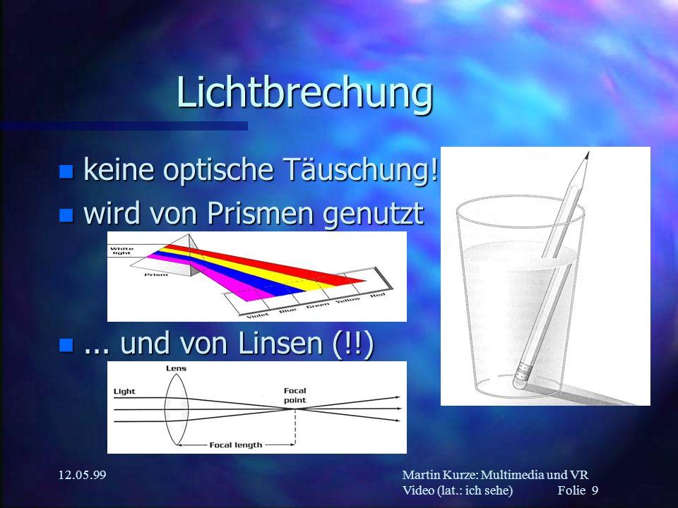 Martin Kurze: Multimedia und VR Video (lat.: ich sehe) Folie 9 12.05.99 Lichtbrechung n keine optische Täuschung! n wird von Prismen genutzt n... und