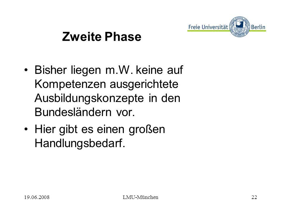 19.06.2008LMU-München22 Zweite Phase Bisher liegen m.W.