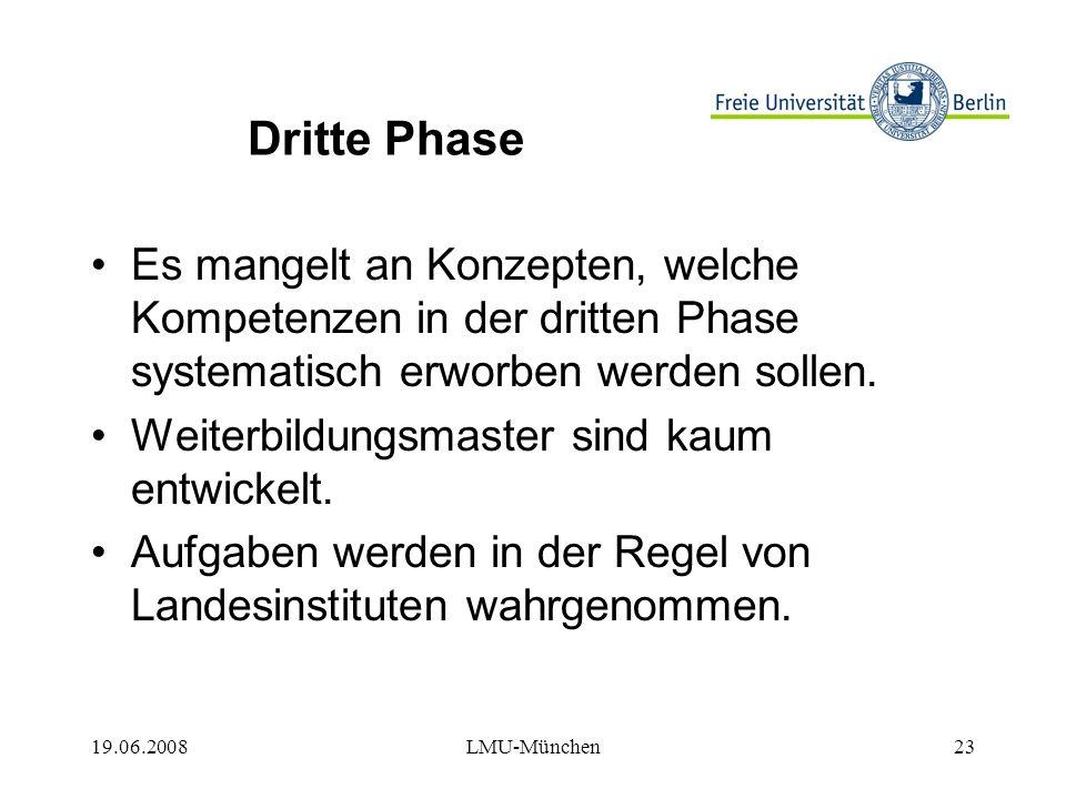 19.06.2008LMU-München23 Dritte Phase Es mangelt an Konzepten, welche Kompetenzen in der dritten Phase systematisch erworben werden sollen.