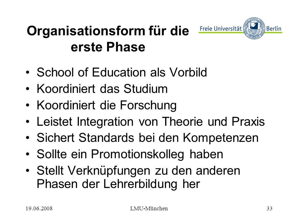 19.06.2008LMU-München33 Organisationsform für die erste Phase School of Education als Vorbild Koordiniert das Studium Koordiniert die Forschung Leistet Integration von Theorie und Praxis Sichert Standards bei den Kompetenzen Sollte ein Promotionskolleg haben Stellt Verknüpfungen zu den anderen Phasen der Lehrerbildung her