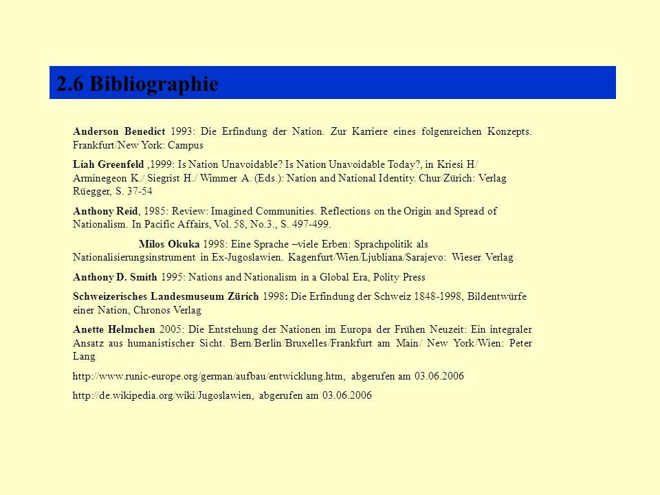 2.6 Bibliographie Anderson Benedict 1993: Die Erfindung der Nation.