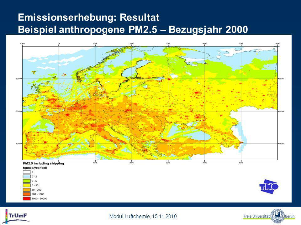 Modul Luftchemie, 15.11.2010 Emissionserhebung: Resultat Beispiel anthropogene PM2.5 – Bezugsjahr 2000