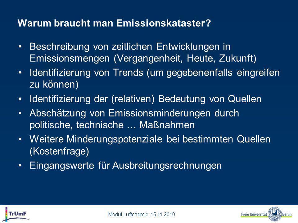 Modul Luftchemie, 15.11.2010 Warum braucht man Emissionskataster.