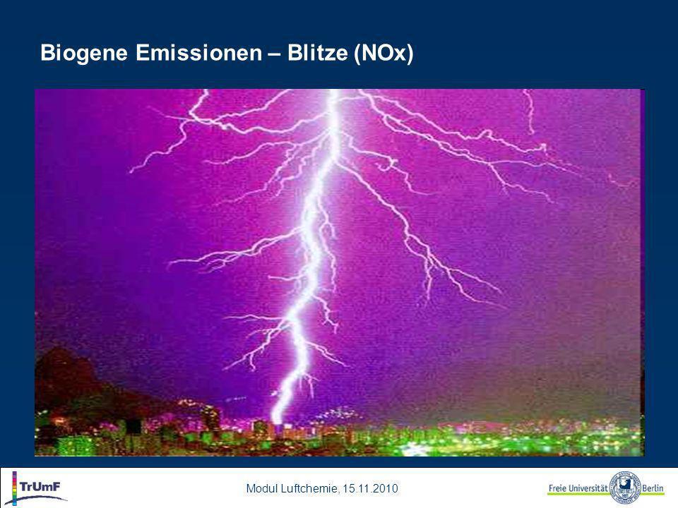 Modul Luftchemie, 15.11.2010 Biogene Emissionen – Blitze (NOx)