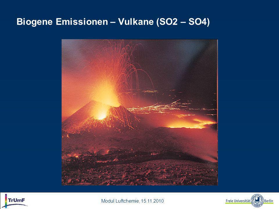 Modul Luftchemie, 15.11.2010 Biogene Emissionen – Vulkane (SO2 – SO4)
