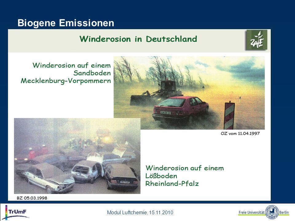 Modul Luftchemie, 15.11.2010 Biogene Emissionen