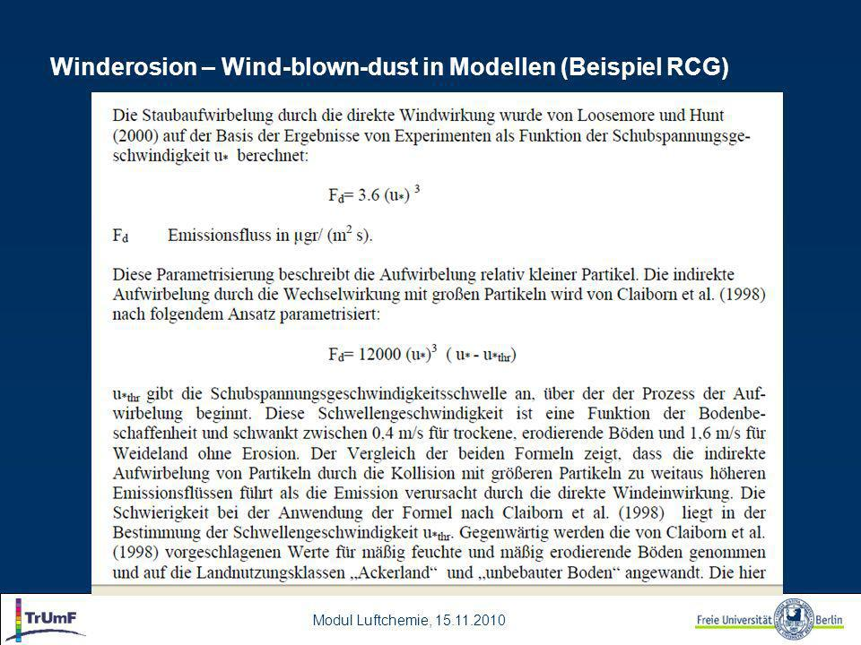 Modul Luftchemie, 15.11.2010 Winderosion – Wind-blown-dust in Modellen (Beispiel RCG)