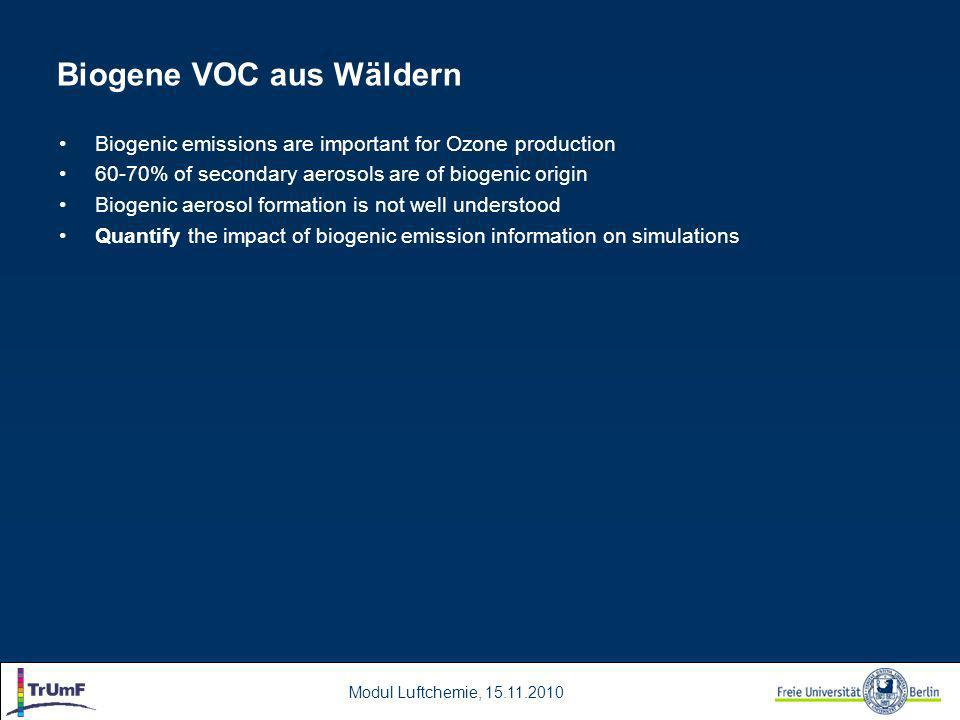 Modul Luftchemie, 15.11.2010 Biogene VOC aus Wäldern Biogenic emissions are important for Ozone production 60-70% of secondary aerosols are of biogenic origin Biogenic aerosol formation is not well understood Quantify the impact of biogenic emission information on simulations