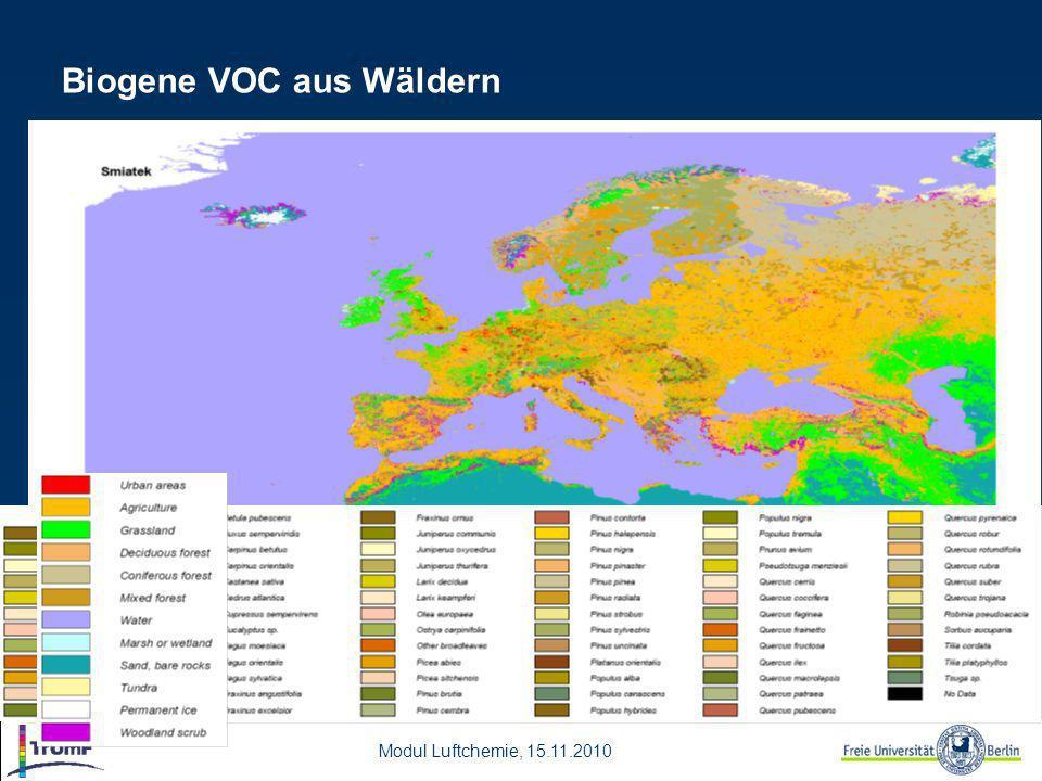 Modul Luftchemie, 15.11.2010 Biogene VOC aus Wäldern