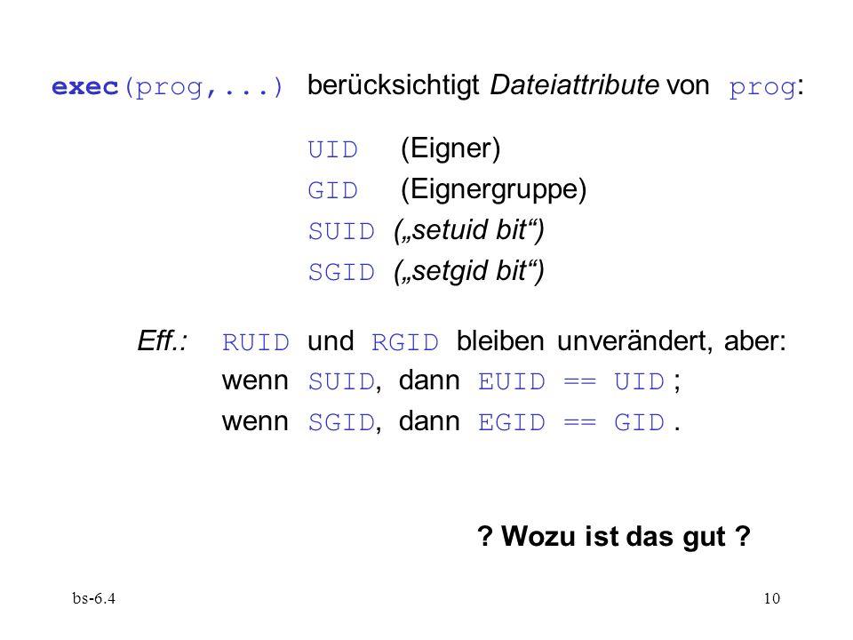 bs-6.410 exec(prog,...) berücksichtigt Dateiattribute von prog : UID (Eigner) GID (Eignergruppe) SUID (setuid bit) SGID (setgid bit) Eff.: RUID und RG
