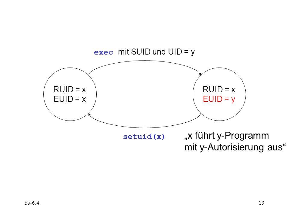 bs-6.413 RUID = x EUID = x RUID = x EUID = y exec mit SUID und UID = y setuid(x) x führt y-Programm mit y-Autorisierung aus