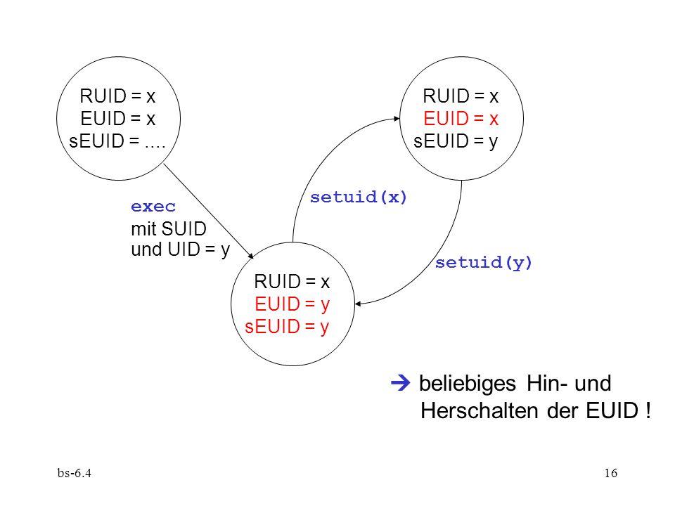bs-6.416 RUID = x EUID = x sEUID =.... RUID = x EUID = x sEUID = y RUID = x EUID = y sEUID = y exec mit SUID und UID = y setuid(x) setuid(y) beliebige
