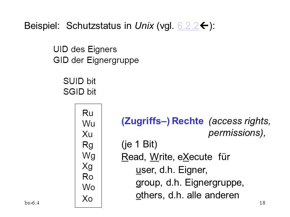 bs-6.418 Beispiel: Schutzstatus in Unix (vgl. 6.2.2 ):6.2.2 UID des Eigners GID der Eignergruppe SUID bit SGID bit Ru Wu Xu Rg Wg Xg Ro Wo Xo (Zugriff