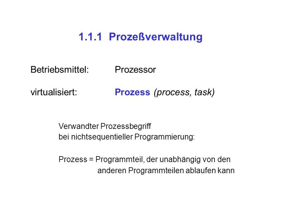 1.1.1 Prozeßverwaltung Betriebsmittel:Prozessor virtualisiert:Prozess (process, task) Verwandter Prozessbegriff bei nichtsequentieller Programmierung:
