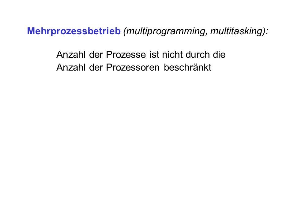 Mehrprozessbetrieb (multiprogramming, multitasking): Anzahl der Prozesse ist nicht durch die Anzahl der Prozessoren beschränkt