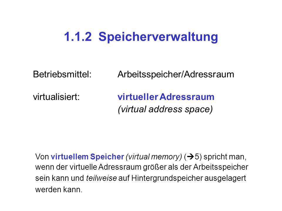 1.1.2 Speicherverwaltung Betriebsmittel:Arbeitsspeicher/Adressraum virtualisiert:virtueller Adressraum (virtual address space) Von virtuellem Speicher