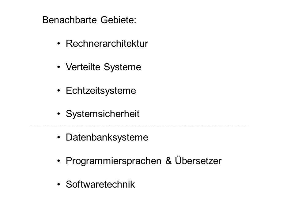 Benachbarte Gebiete: Rechnerarchitektur Verteilte Systeme Echtzeitsysteme Systemsicherheit Datenbanksysteme Programmiersprachen & Übersetzer Softwaret