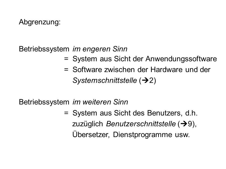 Abgrenzung: Betriebssystem im engeren Sinn = System aus Sicht der Anwendungssoftware = Software zwischen der Hardware und der Systemschnittstelle ( 2)