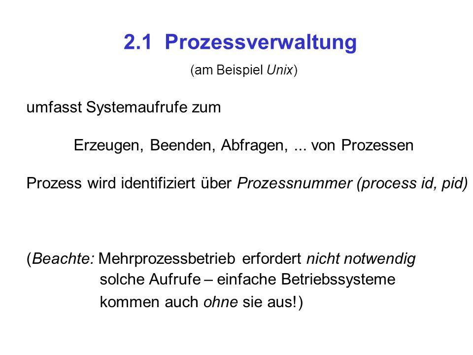 2.1 Prozessverwaltung umfasst Systemaufrufe zum Erzeugen, Beenden, Abfragen,...