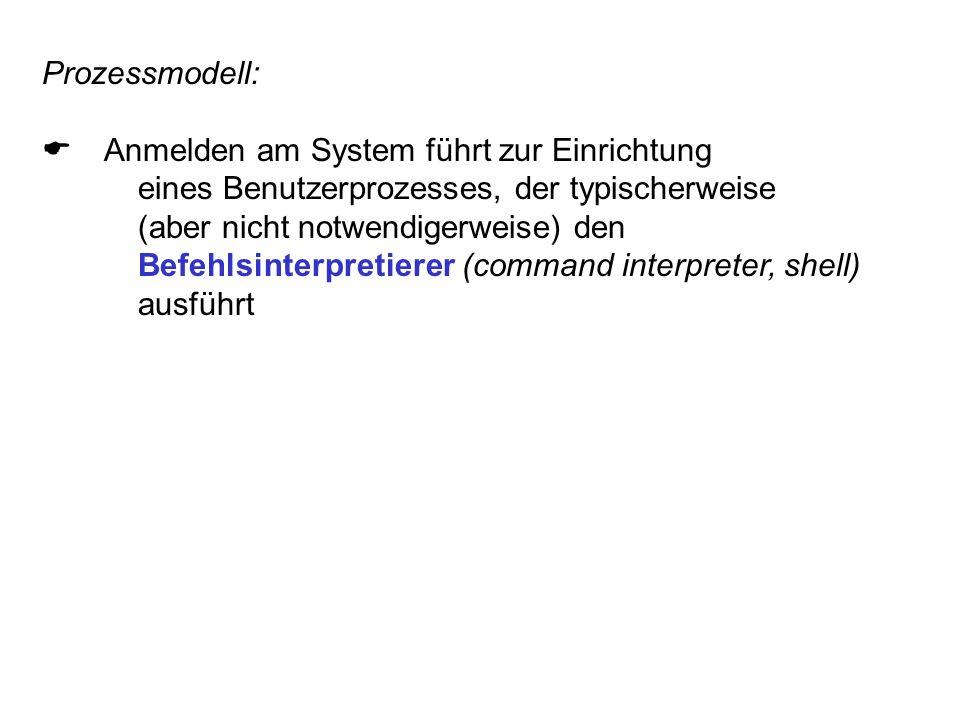 Prozessmodell: Anmelden am System führt zur Einrichtung eines Benutzerprozesses, der typischerweise (aber nicht notwendigerweise) den Befehlsinterpretierer (command interpreter, shell) ausführt