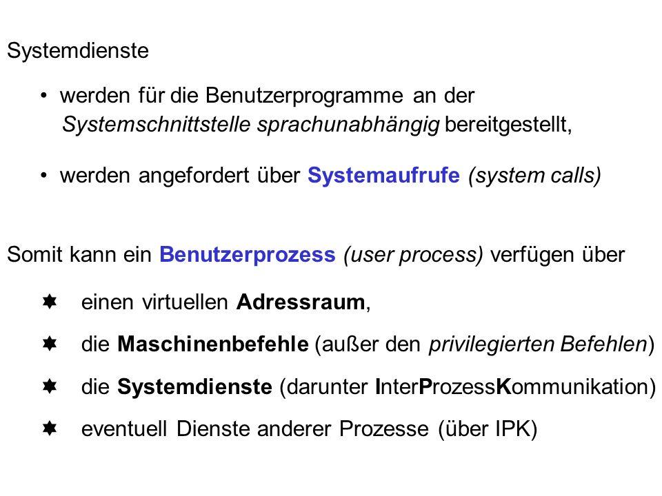 Systemdienste werden für die Benutzerprogramme an der Systemschnittstelle sprachunabhängig bereitgestellt, werden angefordert über Systemaufrufe (system calls) Somit kann ein Benutzerprozess (user process) verfügen über einen virtuellen Adressraum, die Maschinenbefehle (außer den privilegierten Befehlen) die Systemdienste (darunter InterProzessKommunikation) eventuell Dienste anderer Prozesse (über IPK)