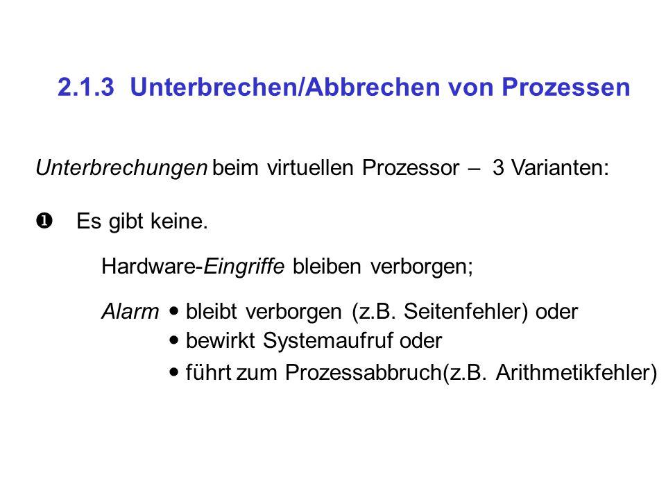 2.1.3 Unterbrechen/Abbrechen von Prozessen Unterbrechungen beim virtuellen Prozessor – 3 Varianten: Es gibt keine.