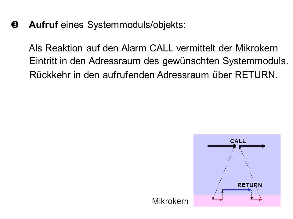 Aufruf eines Systemmoduls/objekts: Als Reaktion auf den Alarm CALL vermittelt der Mikrokern Eintritt in den Adressraum des gewünschten Systemmoduls.