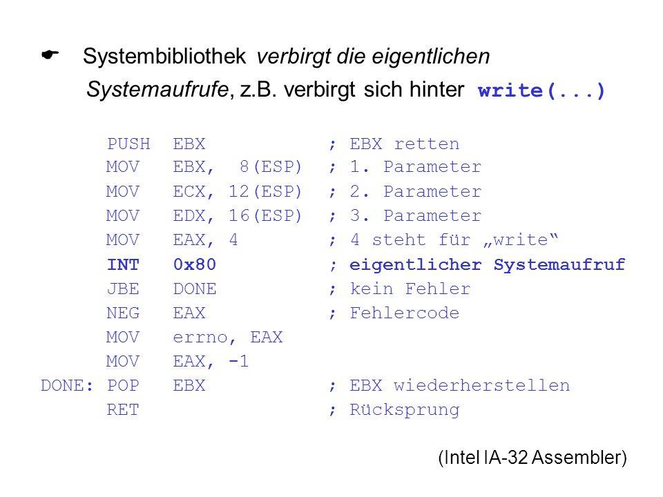 Systembibliothek verbirgt die eigentlichen Systemaufrufe, z.B.