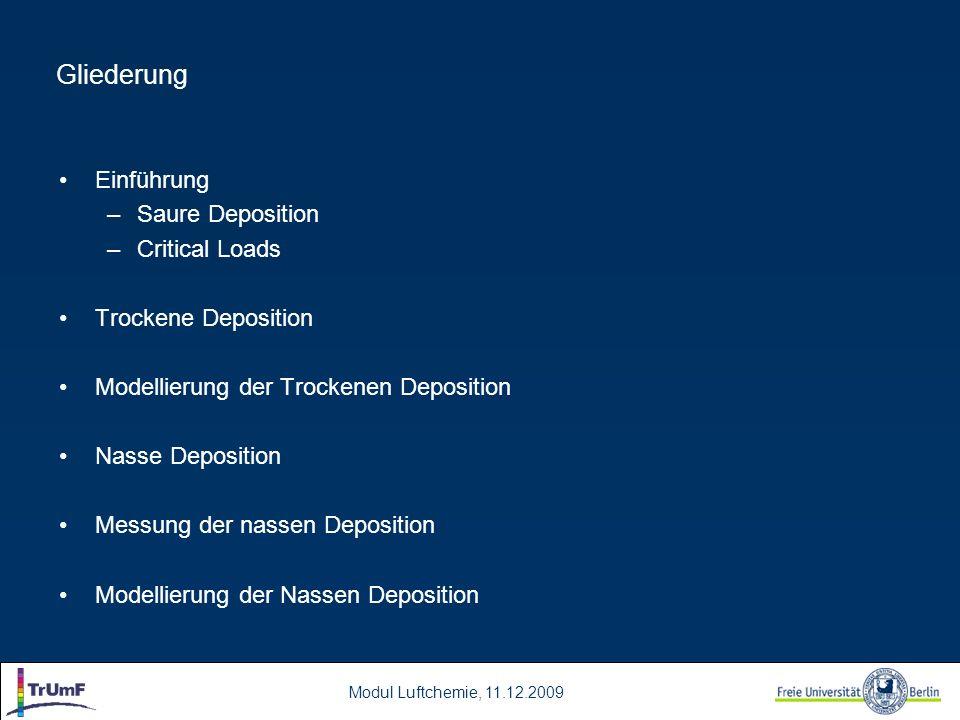 Modul Luftchemie, 11.12.2009 Gliederung Einführung –Saure Deposition –Critical Loads Trockene Deposition Modellierung der Trockenen Deposition Nasse D