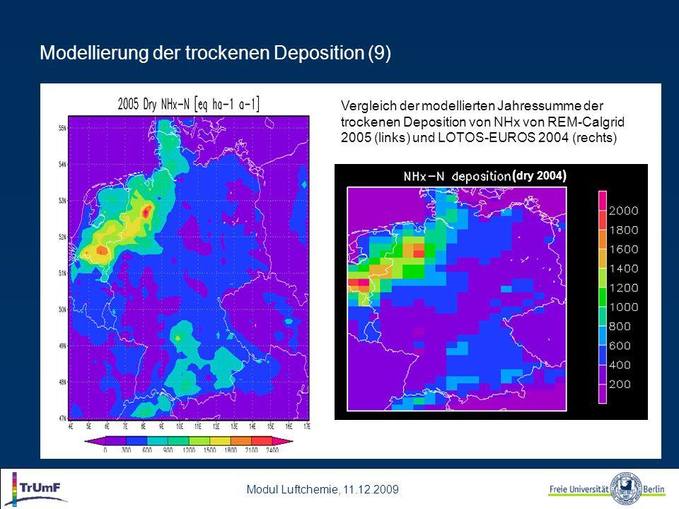 Modul Luftchemie, 11.12.2009 Modellierung der trockenen Deposition (9) ( dry 2004 ) Vergleich der modellierten Jahressumme der trockenen Deposition vo