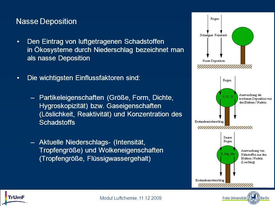 Modul Luftchemie, 11.12.2009 Nasse Deposition Den Eintrag von luftgetragenen Schadstoffen in Ökosysteme durch Niederschlag bezeichnet man als nasse De