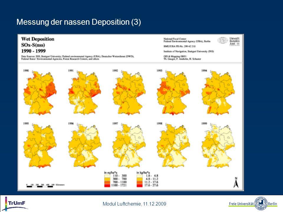 Modul Luftchemie, 11.12.2009 Messung der nassen Deposition (3)